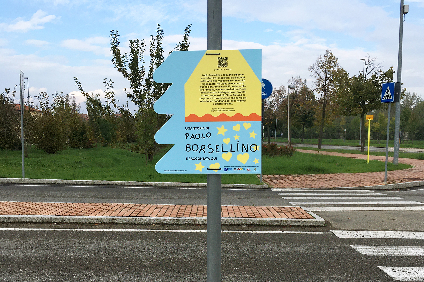 Signs for victims of mafia and terrorism in Modena